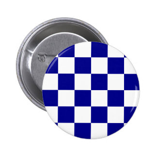 Checkered Large - White and Dark Blue Pinback Button