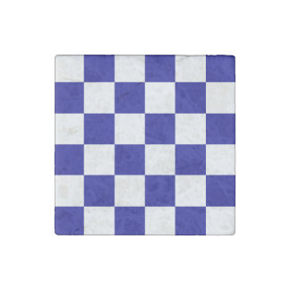 Checkered Large - White and Dark Blue Stone Magnet