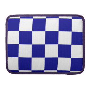 Checkered Large - White and Dark Blue Sleeves For MacBooks