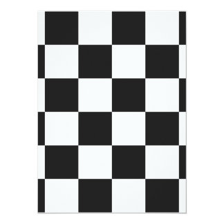 Checkered Large - White and Dark Gray 5.5x7.5 Paper Invitation Card
