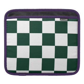 Checkered Large - White and Dark Green iPad Sleeve
