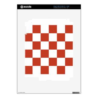 Checkered Large - White and Dark Pastel Red iPad 2 Skin