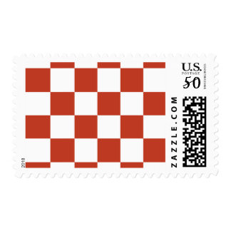 Checkered Large - White and Dark Pastel Red Postage