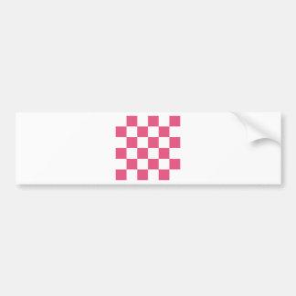 Checkered Large - White and Dark Pink Bumper Sticker