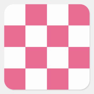 Checkered Large - White and Dark Pink Square Sticker