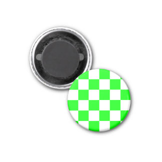 Checkered Large - White and Electric Green 1 Inch Round Magnet
