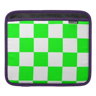 Checkered Large - White and Electric Green Sleeve For iPads