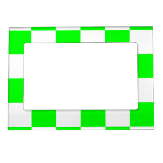 Checkered Large - White and Electric Green Magnetic Picture Frame