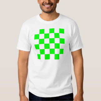 Checkered Large - White and Electric Green T-Shirt