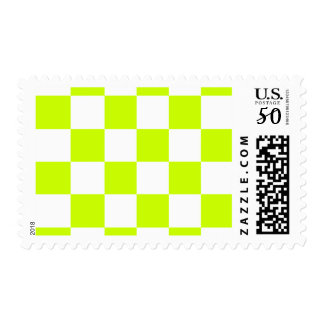Checkered Large - White and Fluorescent Yellow Postage