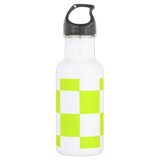 Checkered Large - White and Fluorescent Yellow Water Bottle