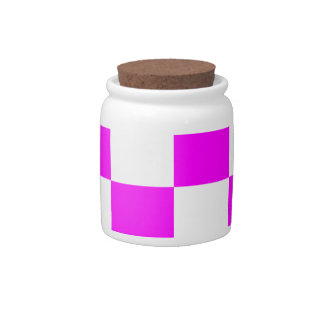 Checkered Large - White and Fuchsia Candy Jars