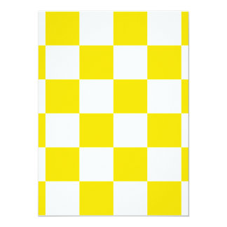 Checkered Large - White and Golden Yellow 5.5x7.5 Paper Invitation Card