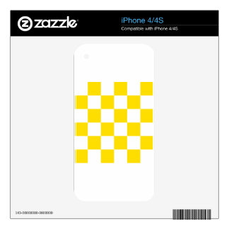 Checkered Large - White and Golden Yellow Decal For iPhone 4S
