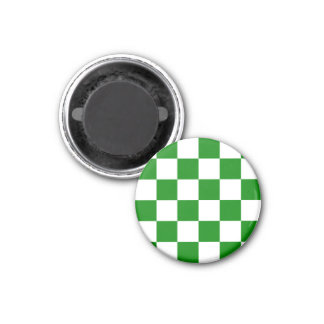 Checkered Large - White and Green 1 Inch Round Magnet