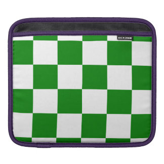 Checkered Large - White and Green Sleeves For iPads
