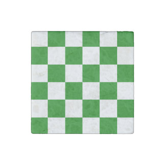 Checkered Large - White and Green Stone Magnet