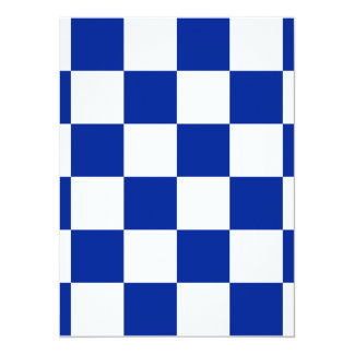 Checkered Large - White and Imperial Blue 5.5x7.5 Paper Invitation Card