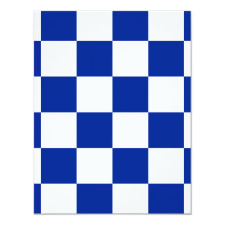 Checkered Large - White and Imperial Blue 4.25x5.5 Paper Invitation Card
