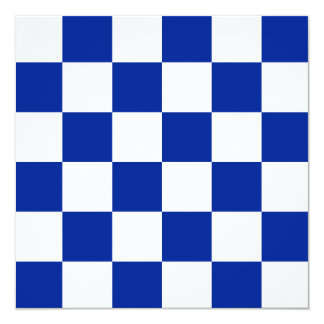 Checkered Large - White and Imperial Blue 5.25x5.25 Square Paper Invitation Card