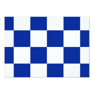 Checkered Large - White and Imperial Blue 5x7 Paper Invitation Card