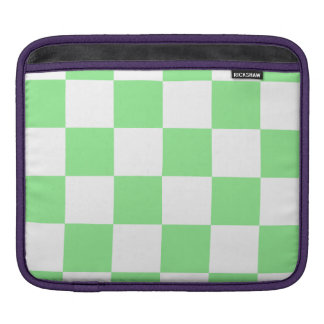 Checkered Large - White and Light Green Sleeve For iPads