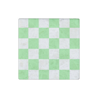 Checkered Large - White and Light Green Stone Magnet