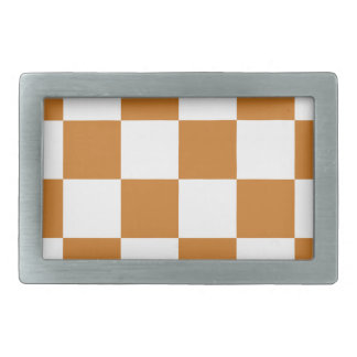 Checkered Large - White and Ochre Belt Buckles