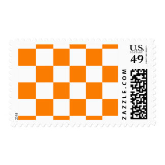 Checkered Large - White and Orange Postage Stamp