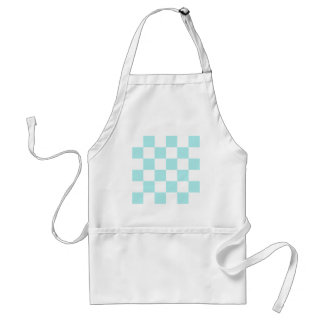 Checkered Large - White and Pale Blue Apron