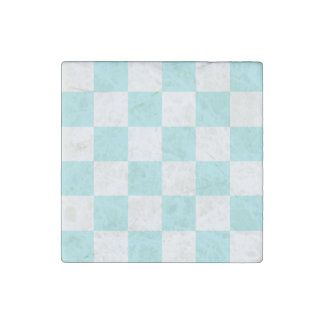 Checkered Large - White and Pale Blue Stone Magnet