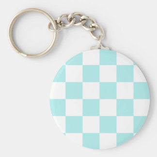 Checkered Large - White and Pale Blue Key Chains