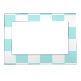 Checkered Large - White and Pale Blue Picture Frame Magnets