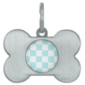 Checkered Large - White and Pale Blue Pet Name Tag
