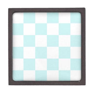 Checkered Large - White and Pale Blue Premium Trinket Box