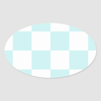 Checkered Large - White and Pale Blue Oval Stickers