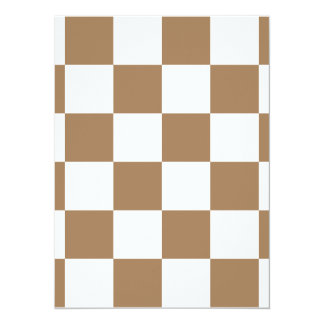 Checkered Large - White and Pale Brown 5.5x7.5 Paper Invitation Card