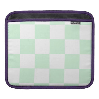 Checkered Large - White and Pastel Green Sleeve For iPads