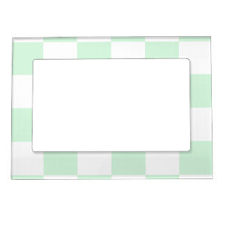 Checkered Large - White and Pastel Green Magnetic Photo Frame
