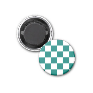Checkered Large - White and Pine Green 1 Inch Round Magnet