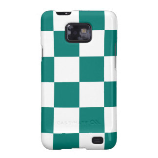 Checkered Large - White and Pine Green Galaxy SII Cover