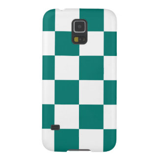 Checkered Large - White and Pine Green Galaxy S5 Cases