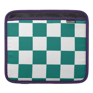 Checkered Large - White and Pine Green iPad Sleeves