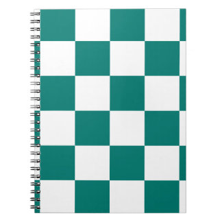 Checkered Large - White and Pine Green Spiral Notebook