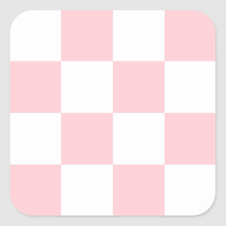 Checkered Large - White and Pink Square Stickers