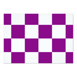 """Checkered Large - White and Purple 5"""" X 7"""" Invitation Card"""