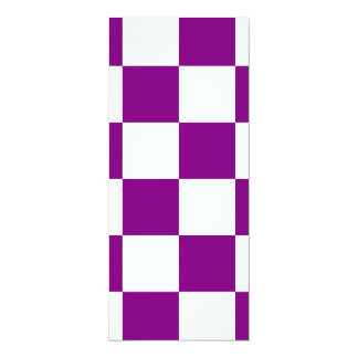 """Checkered Large - White and Purple 4"""" X 9.25"""" Invitation Card"""