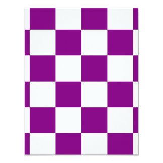 """Checkered Large - White and Purple 4.25"""" X 5.5"""" Invitation Card"""