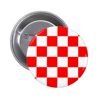 Checkered Large - White and Red Pinback Button