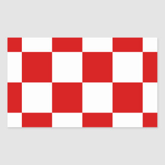 Checkered Large - White and Rosso Corsa Rectangle Stickers